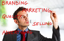 Marketing. Friendly businessman writing marketing concepts on the screen Stock Image