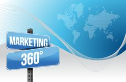 Marketing 360 business blue world background Stock Photography
