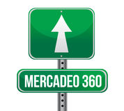 Marketing 360 in Spanish road sign Stock Image