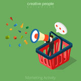 Marketing Activity business 3d Flat isometric man. Flat isometric Businessman in huge basket with megaphone in hand vector illustration Stock Images