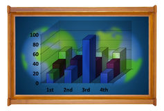 Marketing analysis chart in wooden picture modern frame Royalty Free Stock Images