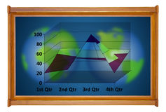 Marketing analysis chart in wooden picture modern frame Stock Image