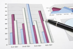 Marketing analysis graphic chart with pen. For business planning Stock Images