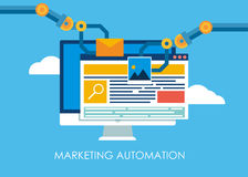 Marketing Automation. Computer with a site that builds the robot`s hands. Royalty Free Stock Photo