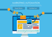Marketing Automation. Computer with a site that builds the robot`s hands. Stock Image