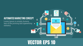 Marketing automation concept - web banner - vector illustration. A modern concept of automated marketing that includes email, reply, analytics, data, elements Royalty Free Stock Image