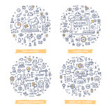 Marketing Automation Doodle Illustrations. Set 1. Doodle concepts of email strategy, page landing technology, campaign management, marketing prediction and royalty free illustration