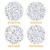 Marketing Automation Doodle Illustrations. Set 2 royalty free illustration
