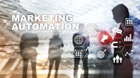 Marketing Automation Software Technology Process System Internet Business concept. Mixed media background stock images