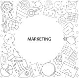 Marketing background from line icon. Linear vector pattern Royalty Free Stock Photography