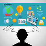 Marketing. Background with objects and symbols web Stock Photos