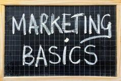 Marketing Basics on a Blackboard Stock Photos