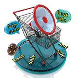 Marketing for best sales: shopping cart concept Royalty Free Stock Images