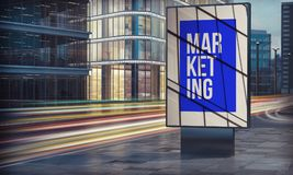 Marketing billboard in city night Royalty Free Stock Photo