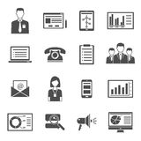 Marketing Black Icons. Collection of marketing black  icons with white background for blog performance web site design isolated vector illustration Royalty Free Stock Photo