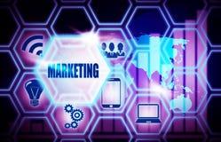 Marketing blue background model concept royalty free illustration