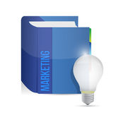 Marketing book and idea lightbulb illustration Royalty Free Stock Photos