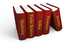 Marketing books. Five books with marketing related titles Stock Photos