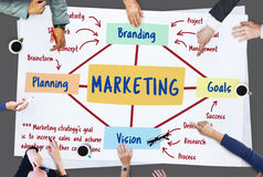 Marketing Branding Planning Vision Goals Concept. People having a Discussion royalty free stock photo