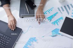 Marketing business concept on the virtual screen.  Royalty Free Stock Images