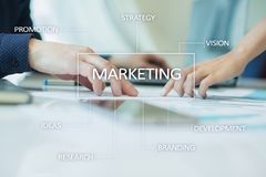 Marketing business concept on the virtual screen Royalty Free Stock Photo