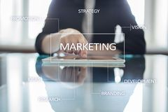 Marketing business concept on the virtual screen Stock Photography