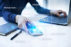 Marketing business concept on the virtual screen Royalty Free Stock Photos