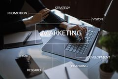 Marketing business concept on the virtual screen Stock Images
