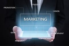 Marketing business concept on the virtual screen. Marketing business concept on the virtual screen Royalty Free Stock Photography