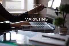Marketing business concept on the virtual screen. Marketing business concept on the virtual screen Royalty Free Stock Images