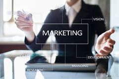 Marketing business concept on the virtual screen. Marketing business concept on the virtual screen Royalty Free Stock Photo