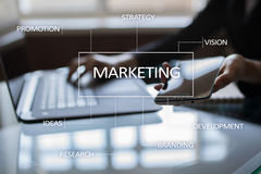 Marketing business concept on the virtual screen. Royalty Free Stock Photos