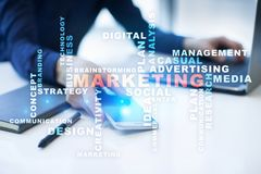 Marketing business concept on the virtual screen. Words cloud. Stock Photo