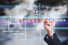 Marketing business concept on the virtual screen. Words cloud Stock Photos