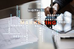 Marketing business concept on the virtual screen. Words cloud Stock Images