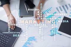 Marketing business concept on the virtual screen. Words cloud Royalty Free Stock Photos