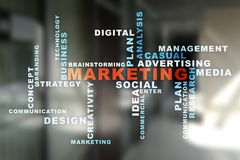 Marketing business concept on the virtual screen. Words cloud. Marketing business concept on the virtual screen. Words cloud Royalty Free Stock Photography