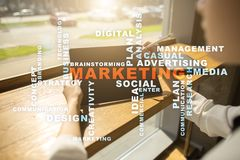 Marketing business concept on the virtual screen. Words cloud. Marketing business concept on the virtual screen. Words cloud Stock Images