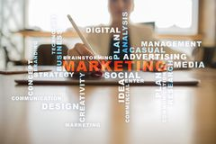 Marketing business concept on the virtual screen. Words cloud. Marketing business concept on the virtual screen. Words cloud Stock Image