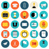Marketing and business flat icons set. Flat design icons set modern style vector illustration concept of business and working objects, office and desk equipment Stock Photos