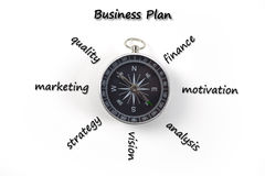 Marketing business plan. With compass stock photo