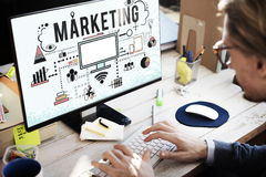 Marketing Business Strategy Analysing Icons Concept Stock Photography