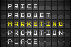 Marketing buzzwords on black mechanical board Stock Photography