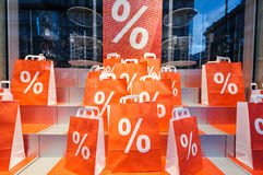 Marketing campaign with Sale Shopping bags i Royalty Free Stock Photo