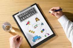 Marketing channels concept on a desk. Marketing channels concept on a clipboard stock images