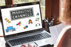 Marketing channels concept on a laptop screen. Laptop screen showing marketing channels concept stock photos