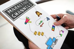 Marketing channels concept on a paper. Held by a hand stock photos