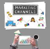 Marketing channels concept placed on a desk Stock Image
