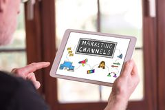 Marketing channels concept on a tablet royalty free stock photography