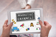 Marketing channels concept on a tablet. Marketing channels concept shown on a tablet held by a woman stock photography